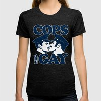 Cops are Gay Womens Fitted Tee Tri-Black SMALL