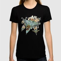 Tyrannosquadron Rex... IN SPAAACE! Womens Fitted Tee Black SMALL