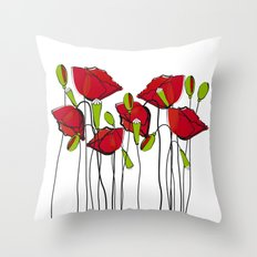 Whimsical Red Poppies Throw Pillow