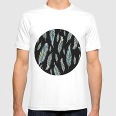 feather black Mens Fitted Tee White SMALL