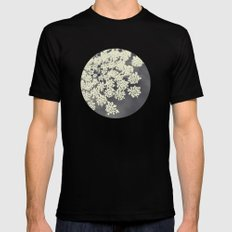 Black and White Queen Annes Lace Mens Fitted Tee Black SMALL