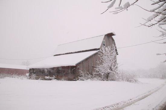 Snowy Barn Art Print