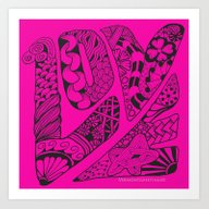 LOVE Out Loud Pink And P… Art Print
