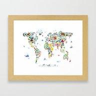 Animal Map Of The World … Framed Art Print