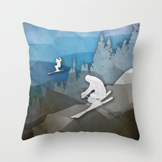 The Skiers Throw Pillow