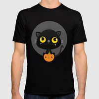 Black cat Mens Fitted Tee Black SMALL