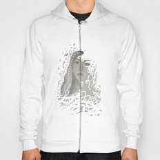 grey face made of pencil and lace Hoody