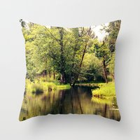 a tree by the river Throw Pillow
