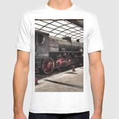 steam locomotive inside the train station SMALL Mens Fitted Tee White