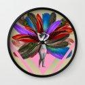 Peacock carnival woman Wall Clock