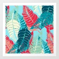Leave Me Layered (Aqua R… Art Print