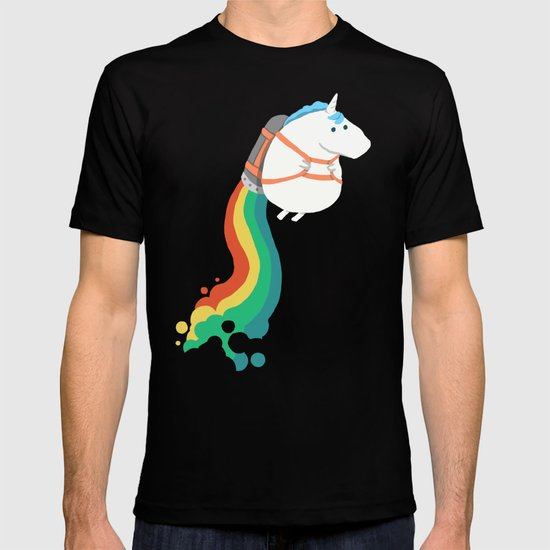 Fat Unicorn on Rainbow Jetpack T-shirt by Picomodi | Society6