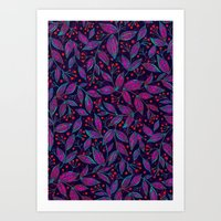 RED BERRIES PINK LEAVES Art Print