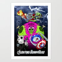 Floating BunnyHead + Ave… Art Print