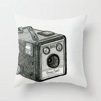 Kodak Box Brownie Camera Illustration Throw Pillow