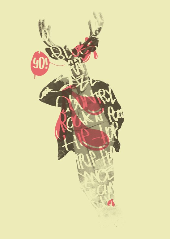 Yo! Deer Music Man Art Print