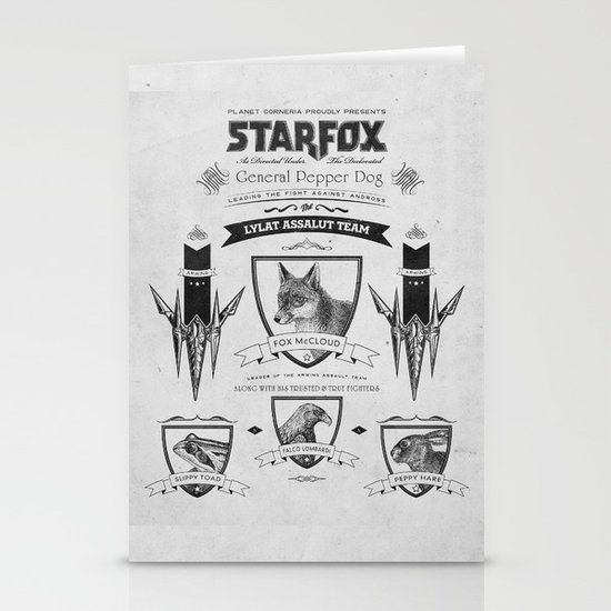 Star Fox Vintage Poster Geek Line Artly Stationery Card