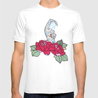 pin-up and roses Mens Fitted Tee White SMALL