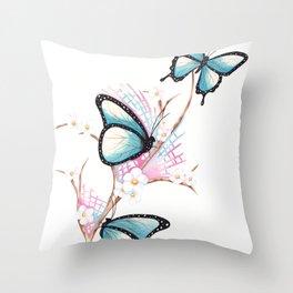 Throw Pillow - Watercolour Butterflies on Apple Blossom - WillowArtPrints