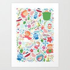 Ponyo Pattern - Studio G… Art Print