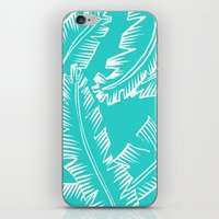Modern Palm Leaves - Turquoise Blue and White iPhone & iPod Skin