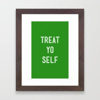 Treat Yo Self Green - Parks and Recreation Framed Art Print