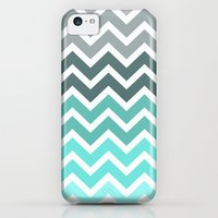 iPhone 5c Cases featuring Tiffany Fade Chevron Pattern by RexLambo
