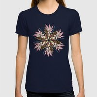 Flemish Floral Mandala Womens Fitted Tee Navy SMALL