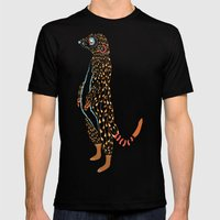 Abstract Meerkat Mens Fitted Tee Black SMALL