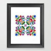 Folk Flowers Square Framed Art Print