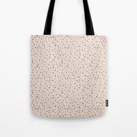 PolkaDots-Taupe On Peach Tote Bag