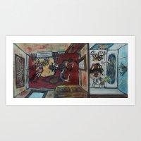PARTYING MYTHOLOGICAL CR… Art Print