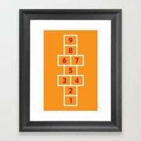 Hopscotch Orange Framed Art Print