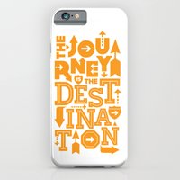 iPhone & iPod Case featuring Orange Type Journey Quote  by Inspireuart