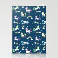 Unicorns and Rainbows - teal -tiny Stationery Cards