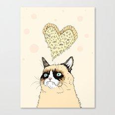 Grumpy Pizza Love Canvas Print