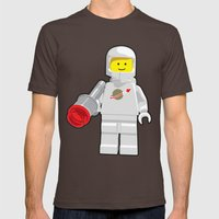 Vintage Lego White Spaceman Minifig Mens Fitted Tee Brown SMALL