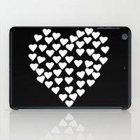 Hearts on Heart White on Black iPad Case
