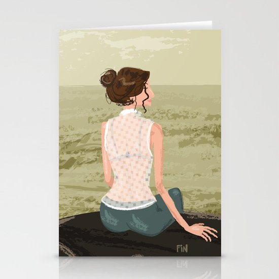 Girl by the Sea Stationery Card