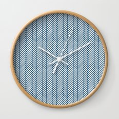 Herringbone Navy Wall Clock
