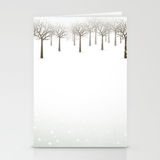 Winter Forest by Friztin Stationery Card