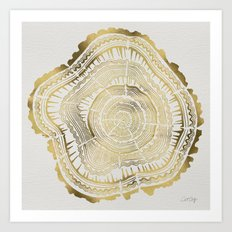Gold Tree Rings Art Print