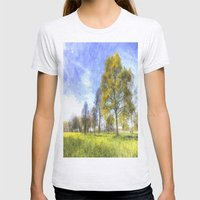 Summer Farm Trees Art Womens Fitted Tee Ash Grey SMALL