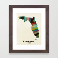 Florida State Map Modern Framed Art Print
