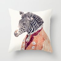 Zebra Cream Throw Pillow