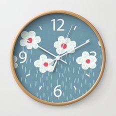 Rainy Flowery Clouds Wall Clock
