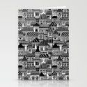 Black and White Busy Body Houses Stationery Cards