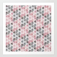Diamond Floral Pattern Art Print