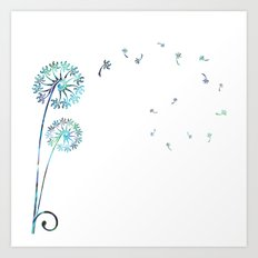 Dandelion Paua White Art Print