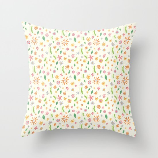Colourful Daisies Throw Pillow